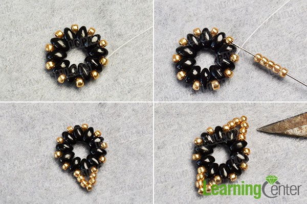 Fix more copper seed beads onto the pattern