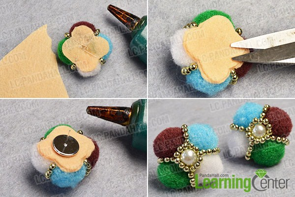 make the rest part of the colorful pom pom ball flower stud earrings