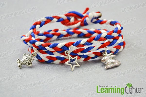 Finish the DIY wrapped cord bracelet