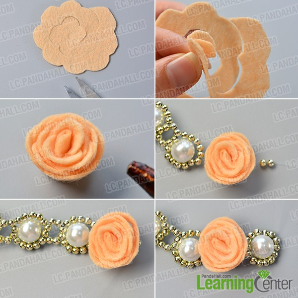 make the third part of the pearl flower necklace