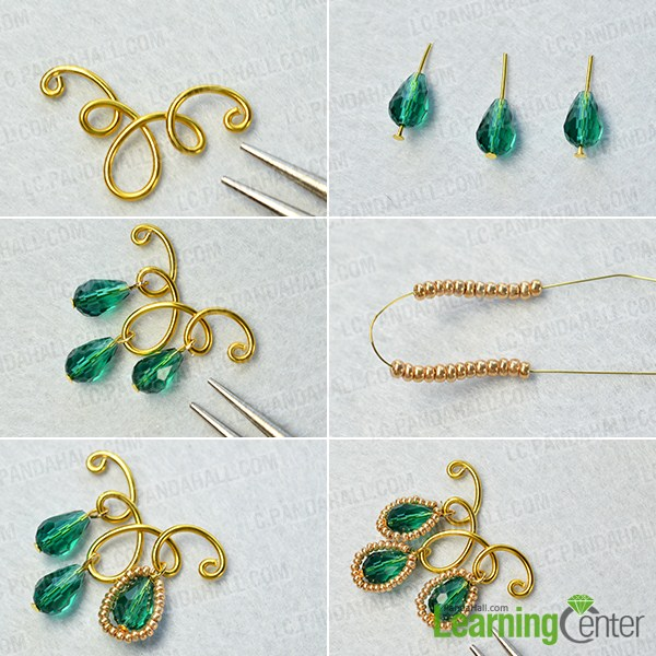 supplies in DIY the golden wire wrapped and glass bead earrings