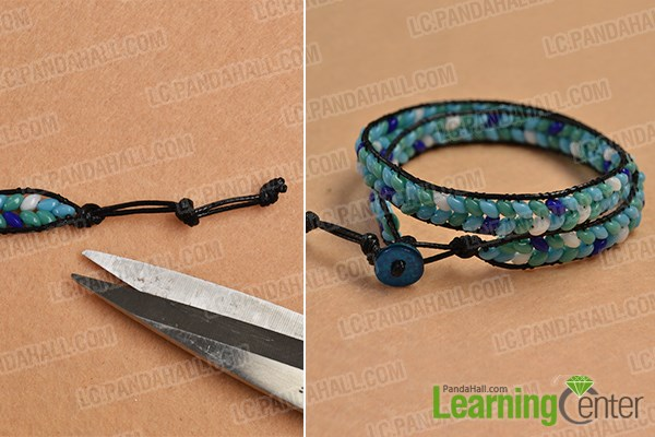 Finish the leather cord bracelet with beads