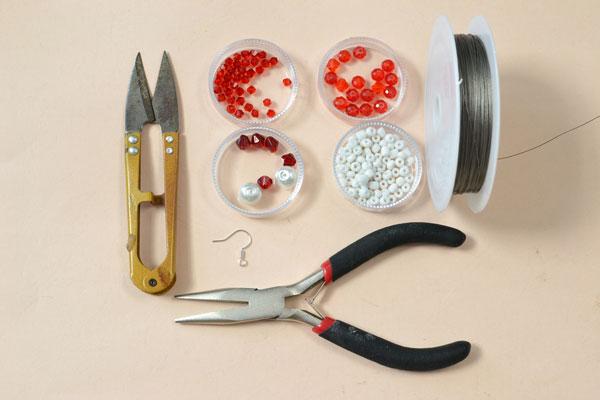 supplies needed in DIY the Christmas Santa Clause earrings