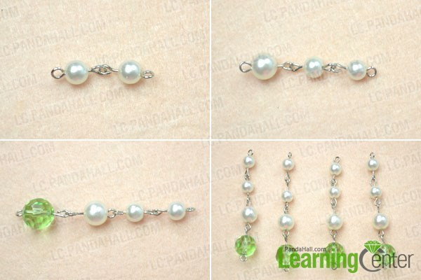 Make the bead link dangles for the vintage pearl brooch