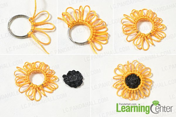 Finish the braided sunflower pattern