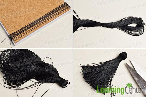 make the black tassel for the Halloween skull bead and tassel drop earring