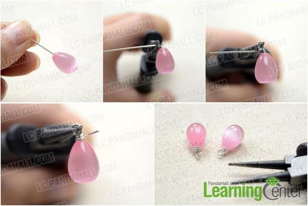 Make the drop cat eye bead dangles