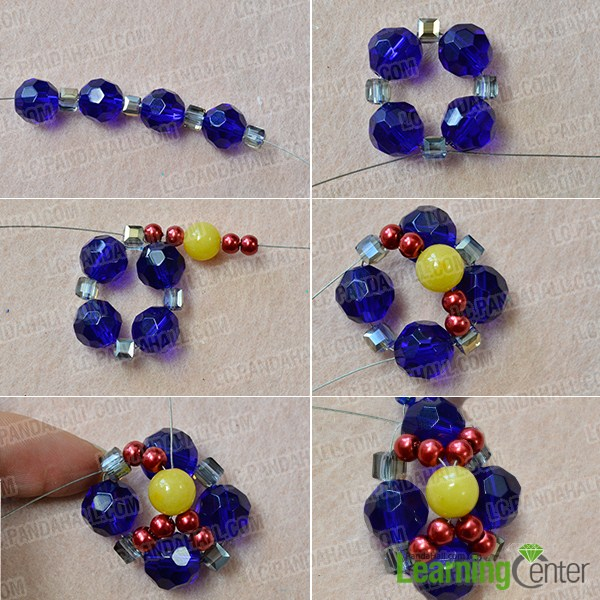 make the first part of the blue bead pendant necklace