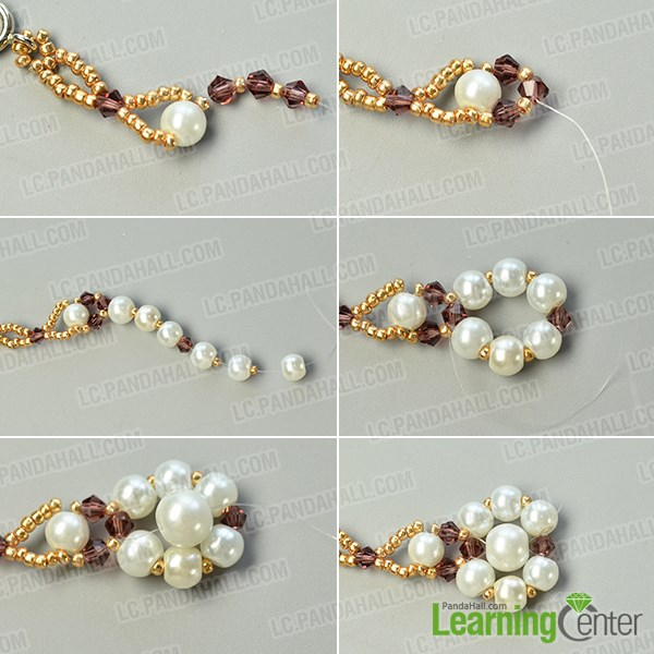 Make a pearl beaded flower pattern