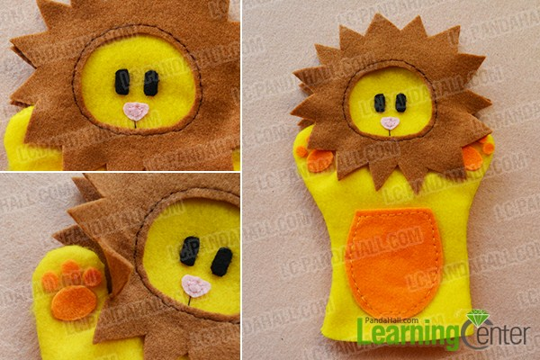 make the rest part of the yellow homemade felt toy glove