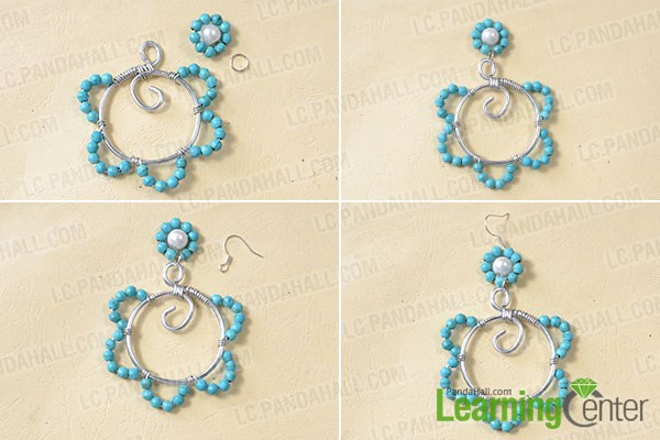 Finish the wire wrapped flower beads earrings