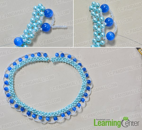Bead blue cat eye bead and seed bead wave pattern