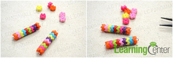 Slide the colorful acrylic beads onto the eyepin