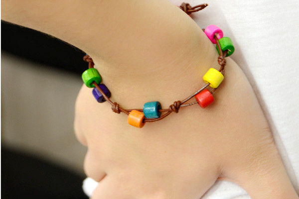 The beautiful rainbow wooden beads bracelet