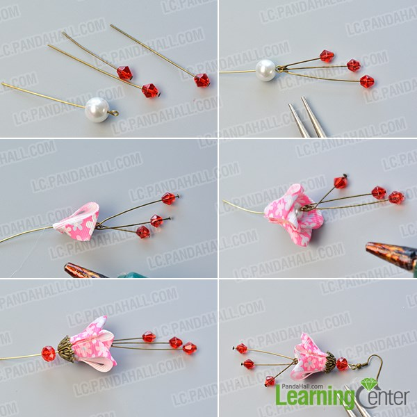 finish the flower ribbon dangle earrings