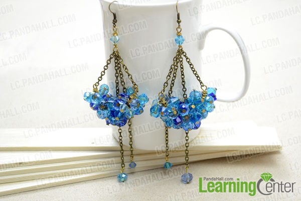 Finished Dangle Crystal Cluster Earrings