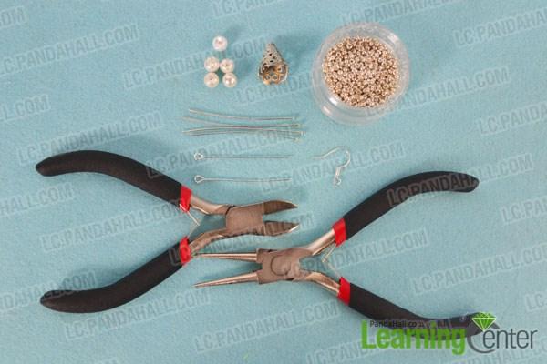 Materials needed in silver flower dangle earrings