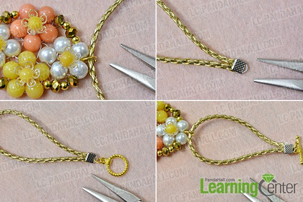 make the rest part of the beaded flower and gold cord bracelet