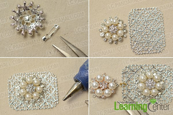 Stick the rhinestone and pearl flower pendent to the brass filigree finding