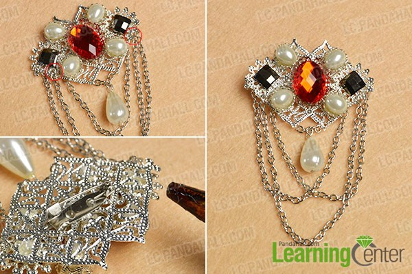 Finish the DIY beaded brooch