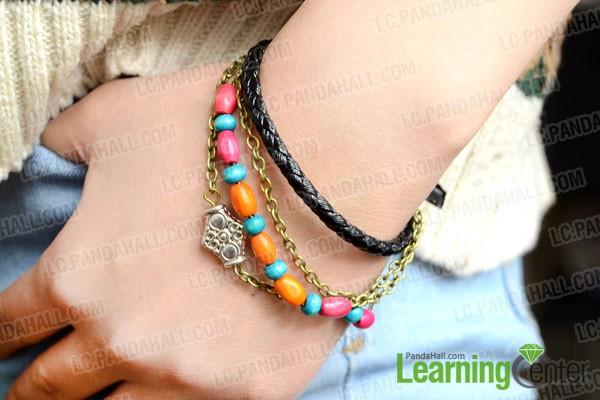 finished cool leather bracelet with boho style