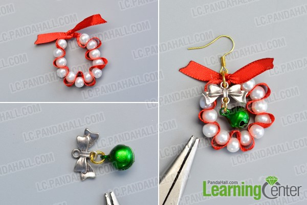 Finish the Christmas pearl dangle earrings