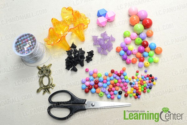 Supplies needed for the acrylic beaded curtain