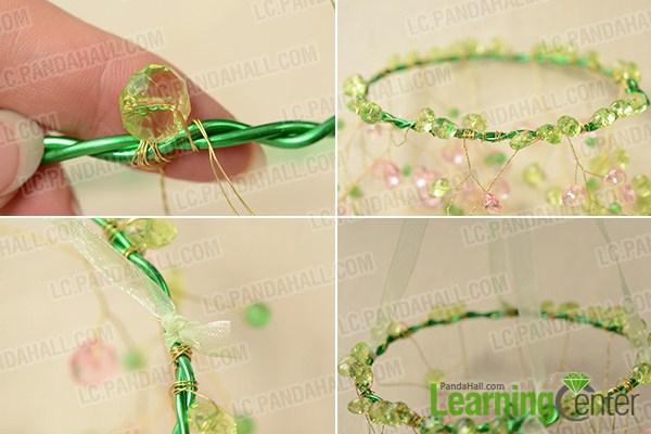add green beads and green ribbon