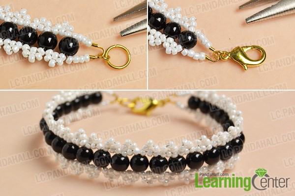 finish this white seed beads bracelet