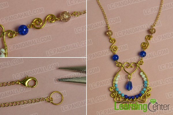 make the fifth part of the golden wire wrapped pendant necklace