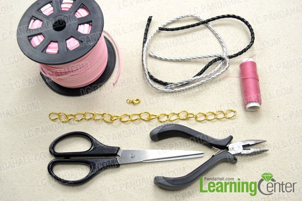 Supplies needed in the woven chain bracelet tutorial
