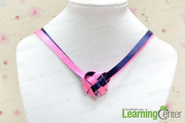 finished Celtic heart knot ribbon necklace