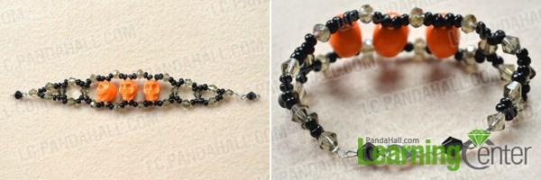 Finish making your own skull beaded bracelet