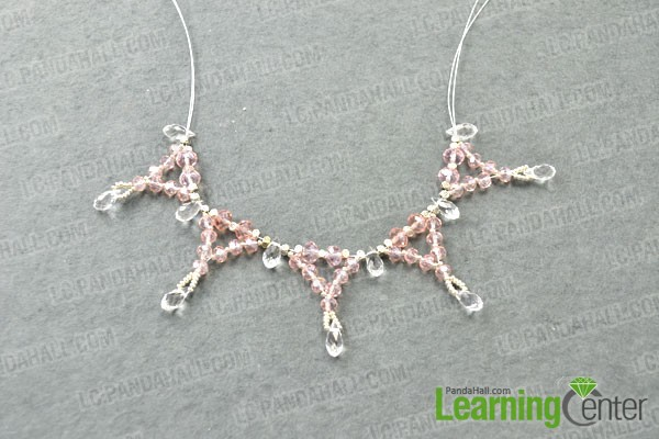 making the dangles for the wedding crystal necklace
