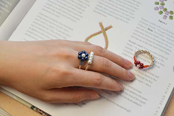 pearl  bead flower rings