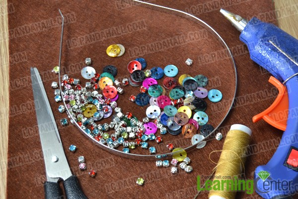 materials and tools for making shell button headband