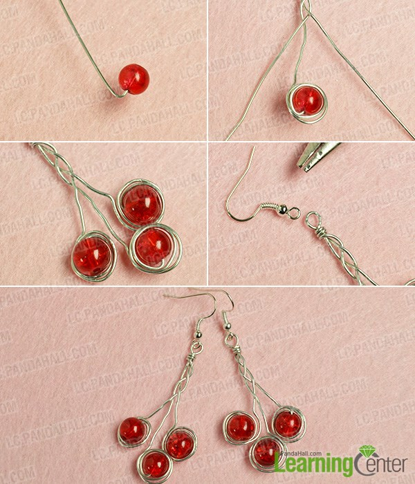 Step 2: Finish this pair of wire and bead earrings