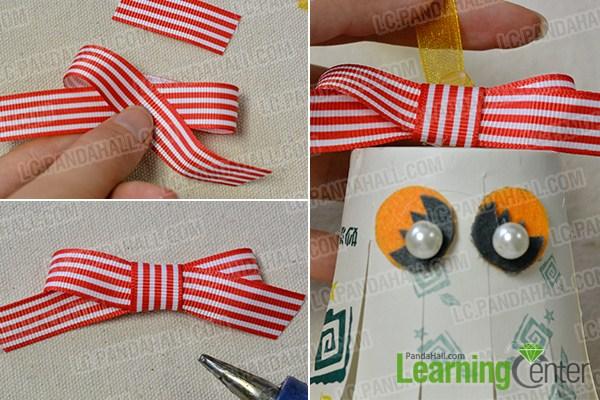 add hanging ribbon and ribbon bow