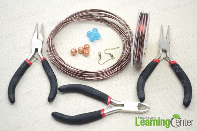 Materials and tools for spiral wire wrapped earrings
