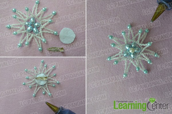 Add a brooch cabochon setting to the back of beaded part and add a 6mm white pearl bead to the middle part.