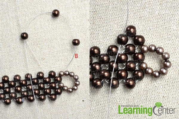 slide the first 4-beaded circle in the third line