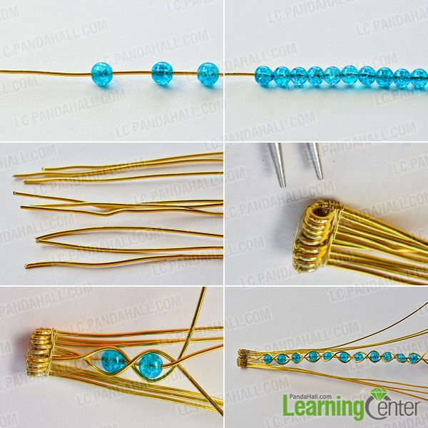 make the first part of the golden wire wrapped bracelet