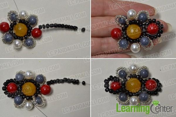 add beads around the beaded flower3