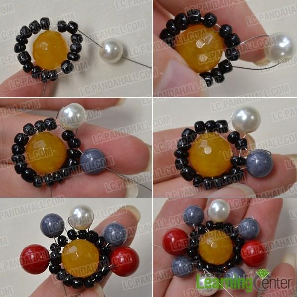 add beads around the beaded flower