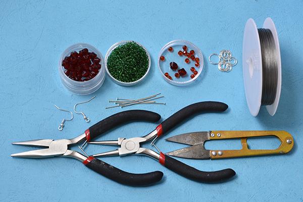 supplies needed in DIY the Christmas beaded ball drop earrings