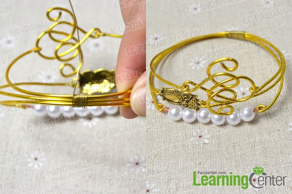 connect the 3 wire bangles together with copper wire