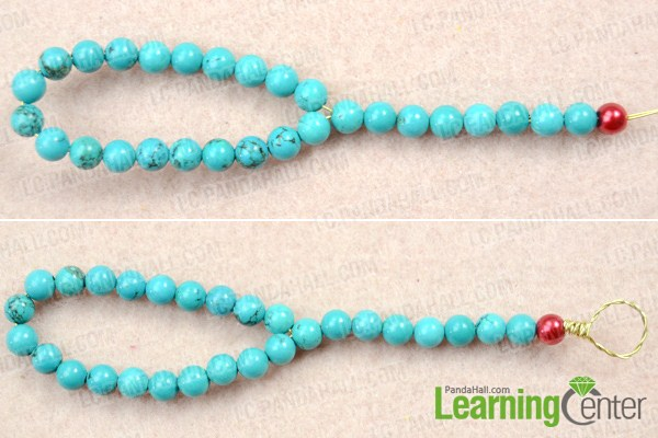 Instruction on how to make a knot bracelet with beads