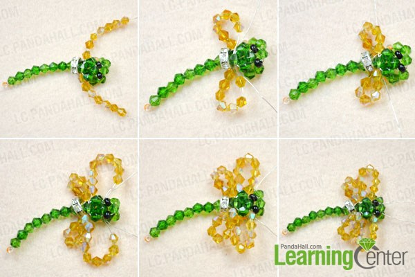 Make the wings of the beaded dragonfly