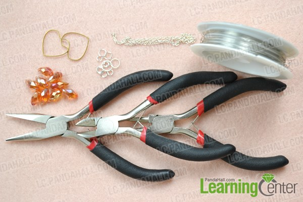 Materials needed in DIY heart lariat style necklace