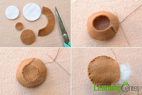 make the main part of the felt strawberry ice cream craft